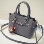 พร้อมส่ง กระเป๋าสะพายข้างและกระเป๋าถือ แฟชั่นเกาหลี Fashion bag รหัส G-642 สีเทา *แถมจี้กระรอก