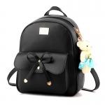 พร้อมส่ง กระเป๋าเป้สะพายหลังผู้หญิง ผูกโบว์ แฟชั่นเกาหลี รหัส Yi-369 สีดำ *แถมตุ๊กตาหมี