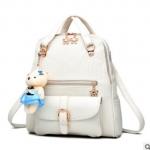 พร้อมส่ง กระเป๋าเป้สะพายหลังและสะพายข้าง ผู้หญิง แฟชั่นเกาหลี รหัส KO-992 สีขาว * แถมตุ๊กตา