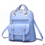 พร้อมส่ง กระเป๋าเป้สะพายหลัง และสะพายข้าง ผู้หญิง แฟชั่นเกาหลี รหัส KO-633 สีฟ้า*ไม่แถมตุ๊กตาหมี