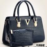 พร้อมส่งกระเป๋าถือและสะพายข้าง เช็ต 2 ใบ กระเป๋าหรูคุณนายแฟชั่นเกาหลี Sunny-679 สีน้ำเงิน 1 เช็ต