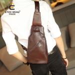 พร้อมส่ง กระเป๋าผู้ชายคาดไหล่ คาดอกแฟชั่นเกาหลี รหัส Man-8128 สีน้ำตาล 1 ใบ
