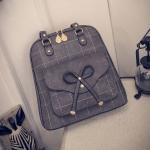 พร้อมส่ง กระเป๋าสะพายข้างหรือสะพายหลังได้เป้นักเรียน ผู้หญิงแฟชั่นเกาหลี แต่งโบว์ Fashion bag รหัส T-842 สีเทา