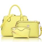 พร้อมส่ง กระเป๋าถือและสะพายข้าง เช็ต 3 ใบ กระเป๋าหรูคุณนายแฟชั่นเกาหลี Sunny-713 แท้ สีเหลือง
