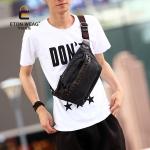 พร้อมส่ง กระเป๋าผู้ชาย คาดอก แต่งหมุด แฟขั่นเกาหลี รหัส Man-9294 รุ่นผ้า สีดำ 1 ใบ