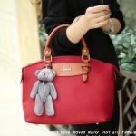 พร้อมส่งกระเป๋าถือและสะพายข้าง ผ้ากันน้ำ แฟชั่นเกาหลี Sunny-741 สีแดง * แถมตุ๊กตาหมี