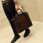 พร้อมส่ง กระเป๋าถือและสะพายข้าง นักธุรกิจ ใส่เอกสาร ผู้ชายแฟขั่นเกาหลี รหัส Man-8113 สีน้ำตาล 1 ใบ
