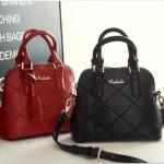 กระเป๋าแฟชั่น เกาหลี ลายตารางสุดชิค มี 3 สี ดำ แดง ม่วง