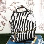 กระเป๋าเป้ Anello Casual Fabric Square Shaped Rucksack ลายขาวดำ