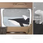 ม่านบังแดดติดรถยนต์ - สีเทา/ลายปลาวาฬ