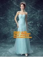 ชุดแต่งงาน [ ชุดพรีเวดดิ้ง ] PD-023 เกาะอก สีฟ้า (Pre-Order)