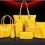 พร้อมส่ง กระเป๋าถือและสะพายแฟชั่นเกาหลี เช็ต 6 ใบ รหัส Fe-796 สีเหลือง 1 เช็ต thumbnail 1