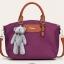 พร้อมส่งกระเป๋าถือและสะพายข้าง ผ้ากันน้ำ แฟชั่นเกาหลี Sunny-741 สีม่วง * แถมตุ๊กตาหมี thumbnail 1