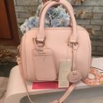 กระเป๋าสะพายข้างสีชมพู ทรงSpeedy แบรนด์ดังจากญี่ปุ่น กระเป๋าหนังเนื้อดี นน.เบา สายยาวปรับขนาดได้