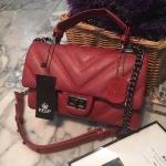 กระเป๋าสะพายข้างสีแดง จากแบรนด์KEEP รุ่นKEEP-shoulder สวยหรู ป้ายห้อยหนังของแบรนด์ของแท้ ถุงผ้าแบรนด์ของแท้