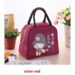 กระเป๋าเก็บร้อน-เย็น ลายสาวน้อยกิโมโน #สีแดงเลือดหมู / Red