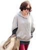 [รหัส G72699] เสื้อผ้าแฟชั่นพร้อมส่ง เสื้อ 2 ชิ้น แขนยาวแฟชั่น ผ้า Cloth Cotton มี Hood + กระเป่าหน้า แบบสวม สีเทา