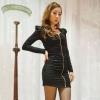 [รหัส B6405] เสื้อผ้าแฟชั่นพร้อมส่ง เดรสแฟชั่น ผ้า Cotton + Spandax ซิปหน้า สีดำ