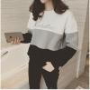 [รหัส G3206] เสื้อผ้าแฟชั่นพร้อมส่ง เสื้อแขนยาวแฟชั่น ผ้า Cloth Cotton ตัดต่อ 3 สี แบบสวม สีเทา