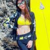 ชุดว่ายน้ำแขนยาวขายาว เซ็ต 4 ชิ้น สีดำตัดขอบลายเหลืองสวยๆ yellow-black soldier