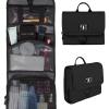 กระเป๋าใส่อุปกรณ์ห้องน้ำ คุณภาพสูง ใส่อุปกรณ์เครื่องสำอาง แขวนได้ สำหรับเดินทาง ท่องเที่ยว (สีดำ)