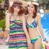 ชุดว่ายน้ำบิกินี่ทูพีชลายกราฟฟิค Multi-color สีสันสวย ขายพร้อมชุดแซก