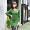 [รหัส G71067] เสื้อผ้าแฟชั่นพร้อมส่ง เดรสแฟชั่น ผ้า cotton + Spandax แต่งโบว์ และกระดุม แบบสวม สีเขียว