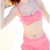 ชุดว่ายน้ำ เซ็ต 3 ชิ้น สีชมพู (บรา+กางเกงกระโปรง+เสื้อคลุมผ้าลูกไม้)