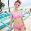 ชุดว่ายน้ำบิกินี่ทูพีช สีชมพู กางเกงผูกข้าง สุดเซ็กซี่