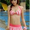 ชุดว่ายน้ำบิกินี่ เซ็ต 3 ชิ้น สีชมพูอมแดง สายคล้องคอ ลายทางสลับสีสวยๆ กระโปรงแต่งระบายๆ