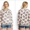 [รหัส MP3301] เสื้อผ้าแฟชั่นพร้อมส่ง เสื้อแขนยาวแฟชั่น ผ้า Air layer ลายแมวเหมียว แบบสวม สีชมพุ Size M