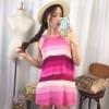 [รหัส PP1630] เสื้อผ้าแฟชั่นพร้อมส่ง เดรสแฟชั่น ผ้า มีซิปซ่ิอนด้านหลัง + ซับใน แบบสวม สีชมพู