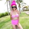 ชุดว่ายน้ำเอวสูง ลายจุด polka dot โทนสีชมพูสวยๆ
