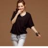 [รหัส B8757] เสื้อผ้าแฟชั่นพร้อมส่ง ชุด 2 ชิ้น เสื้อ + เสือกล้าม ผ้า Cotton + Spandax สีสายผูกเอว + หมวก สีดำ