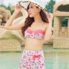 ชุดว่ายน้ำเอวสูง สีชมพูสวยลายดอกไม้ เซ็ต 2 ชิ้น บรา+กางเกง