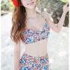 ชุดว่ายน้ำเอวสูง ลายดอกไม้สีน้ำเงินแดงสวยๆ