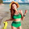 ชุดว่ายน้ำเอวสูง สีเขียว แต่งลายผ้าซีทรูสวยๆ