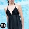 ชุดว่ายน้ำ Tankini เซ็ต2ชิ้น สีดำ บิกินี่แต่งขอบด้วยพู่สวยๆ