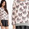 [รหัส LP3301] เสื้อผ้าแฟชั่นพร้อมส่ง เสื้อแขนยาวแฟชั่น ผ้า Air layer ลายแมวเหมียว แบบสวม สีชมพุ Size L