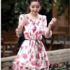 [รหัส LR168-303] เสื้อผ้าแฟชั่นพร้อมส่ง เดรสแฟชั่น ผ้าชีฟอง แบบสวม ลายดอกสีแดง (ไม่รวมสายผูกเอว) Size L