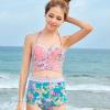 ชุดว่ายน้ำเอวสูง สีชมพู ลายดอกไม้สวยๆ