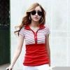 [รหัส R72478] เสื้อผ้าแฟชั่นพร้อมส่ง เสื้อแฟชั่นผ้า Cotton กระดุมหน้า แบบสวม สีแดง
