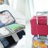 Travel Luggage Organizer เสียบที่จับของกระเป๋าเดินทางได้ มีช่องใส่สองชั้นกั้นด้วยช่องตาข่าย