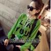 [รหัส G081] เสื้อผ้าแฟชั่นพร้อมส่ง เสื้อแขนยาวแฟชั่น ผ้า Knitting แบบสวม สีเขียว