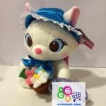 ตุ๊กตาแมวมารีแฟนซี หมวกสีฟ้าถือดอกไม้ 10 นิ้ว