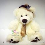 ตุ๊กตาหมีใส่หมวก สีขาว