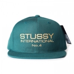 Stussy International No.4 Snapback - Dark Green