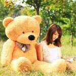 ตุ๊กตาหมีลืมตา 1 เมตร สีน้ำตาลอ่อน ตุ๊กตาหมีตัวใหญ่ ตุ๊กตาตัวอ้วน