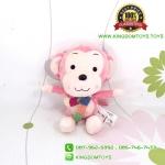 ตุ๊กตา ลิงสีชมพูอ่อนผูกผ้าพันคอ 25 CM