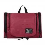 กระเป๋าใส่อุปกรณ์ห้องน้ำ ใส่อุปกรณ์เครื่องสำอาง ใส่ขวดได้ มีกระเป๋าใส่ของเพิ่มซ้าย-ขวา แขวนได้ สำหรับเดินทาง ท่องเที่ยว (สีแดง)